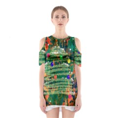 Watercolour Christmas Tree Painting Shoulder Cutout One Piece