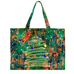 Watercolour Christmas Tree Painting Zipper Large Tote Bag