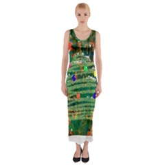 Watercolour Christmas Tree Painting Fitted Maxi Dress