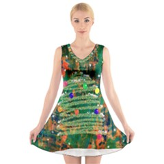 Watercolour Christmas Tree Painting V Neck Sleeveless Skater Dress