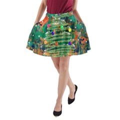 Watercolour Christmas Tree Painting A-Line Pocket Skirt