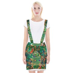 Watercolour Christmas Tree Painting Suspender Skirt