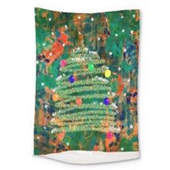 Watercolour Christmas Tree Painting Large Tapestry