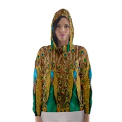 Peacock Bird Feathers Hooded Wind Breaker (women)