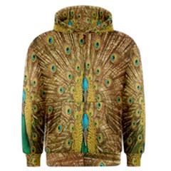 Peacock Bird Feathers Men s Zipper Hoodie