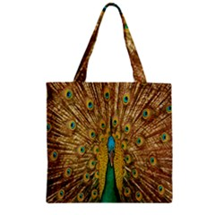 Peacock Bird Feathers Zipper Grocery Tote Bag