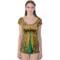 Peacock Bird Feathers Boyleg Leotard