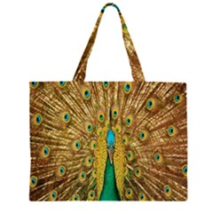 Peacock Bird Feathers Large Tote Bag