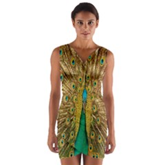 Peacock Bird Feathers Wrap Front Bodycon Dress