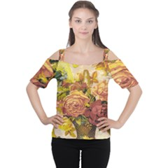 Victorian Background Women s Cutout Shoulder Tee