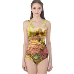 Victorian Background One Piece Swimsuit