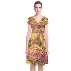 Victorian Background Short Sleeve Front Wrap Dress