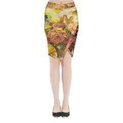 Victorian Background Midi Wrap Pencil Skirt