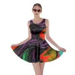 Peacock Feather Rainbow Skater Dress