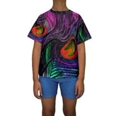Peacock Feather Rainbow Kids  Short Sleeve Swimwear