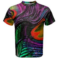 Peacock Feather Rainbow Men s Cotton Tee