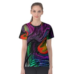 Peacock Feather Rainbow Women s Cotton Tee
