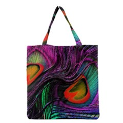 Peacock Feather Rainbow Grocery Tote Bag