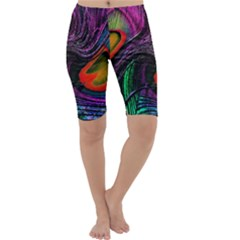 Peacock Feather Rainbow Cropped Leggings