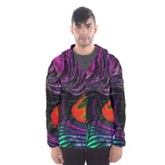 Peacock Feather Rainbow Hooded Wind Breaker (men)