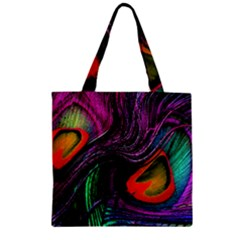 Peacock Feather Rainbow Zipper Grocery Tote Bag