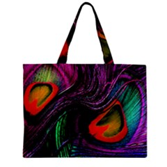 Peacock Feather Rainbow Zipper Mini Tote Bag