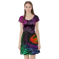 Peacock Feather Rainbow Short Sleeve Skater Dress