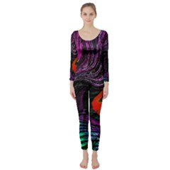 Peacock Feather Rainbow Long Sleeve Catsuit