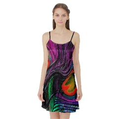 Peacock Feather Rainbow Satin Night Slip