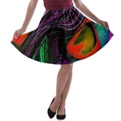 Peacock Feather Rainbow A Line Skater Skirt