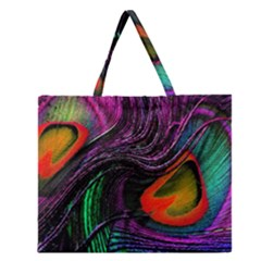 Peacock Feather Rainbow Zipper Large Tote Bag