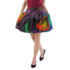 Peacock Feather Rainbow A Line Pocket Skirt