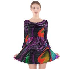Peacock Feather Rainbow Long Sleeve Velvet Skater Dress