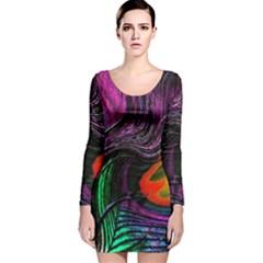Peacock Feather Rainbow Long Sleeve Velvet Bodycon Dress