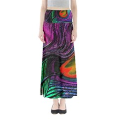 Peacock Feather Rainbow Maxi Skirts