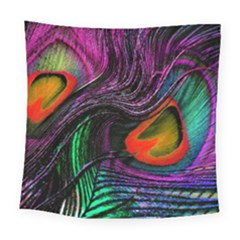 Peacock Feather Rainbow Square Tapestry (large)