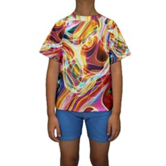 Colourful Abstract Background Design Kids  Short Sleeve Swimwear