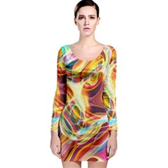 Colourful Abstract Background Design Long Sleeve Bodycon Dress