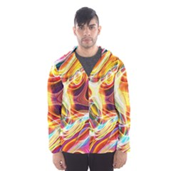 Colourful Abstract Background Design Hooded Wind Breaker (Men)