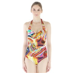 Colourful Abstract Background Design Halter Swimsuit