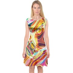 Colourful Abstract Background Design Capsleeve Midi Dress