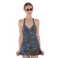 Stone Paints Texture Pattern Halter Swimsuit Dress