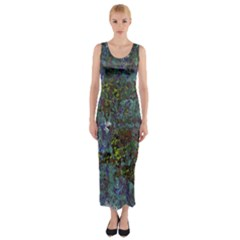 Stone Paints Texture Pattern Fitted Maxi Dress