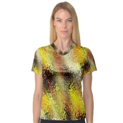 Multi Colored Seamless Abstract Background Women s V-Neck Sport Mesh Tee