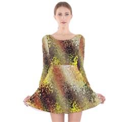 Multi Colored Seamless Abstract Background Long Sleeve Velvet Skater Dress