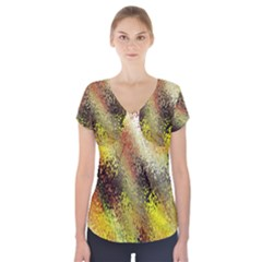 Multi Colored Seamless Abstract Background Short Sleeve Front Detail Top