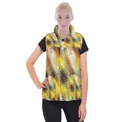 Multi Colored Seamless Abstract Background Women s Button Up Puffer Vest