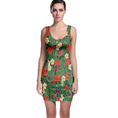 Berries And Leaves Sleeveless Bodycon Dress