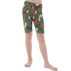 Berries And Leaves Kids  Mid Length Swim Shorts