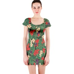 Berries And Leaves Short Sleeve Bodycon Dress